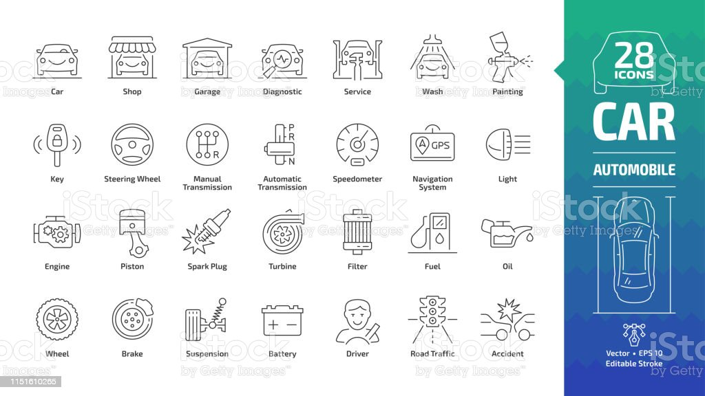 Car outline icon set with basic automotive symbols: automobile, auto service, wash & shop, vehicle repair, wheel & tire, oil & fuel, engine, piston, transmission, filter and more editable stroke sign. Car outline icon set with basic automotive symbols: automobile, auto service, wash & shop, vehicle repair, wheel & tire, oil & fuel, engine, piston, transmission, filter and more editable stroke sign. Auto Repair Shop stock vector