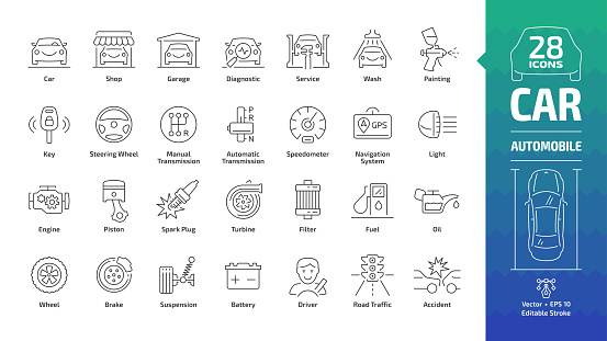 Car outline icon set with basic automotive symbols: automobile, auto service, wash & shop, vehicle repair, wheel & tire, oil & fuel, engine, piston, transmission, filter and more editable stroke sign.