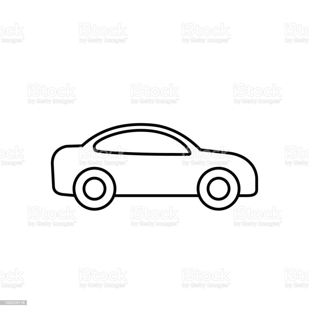 Car outline icon vector line transportation simple symbol