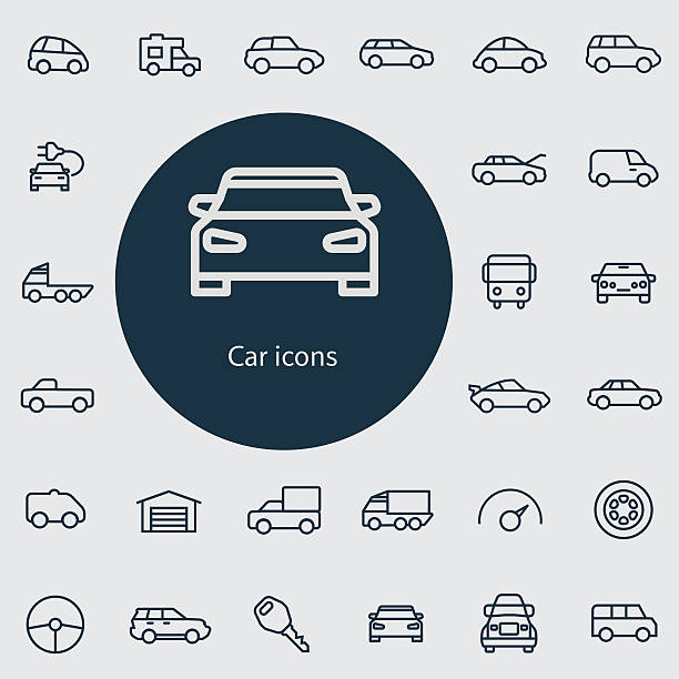 auto dünne flache outline, icon-set, digital - vans stock-grafiken, -clipart, -cartoons und -symbole