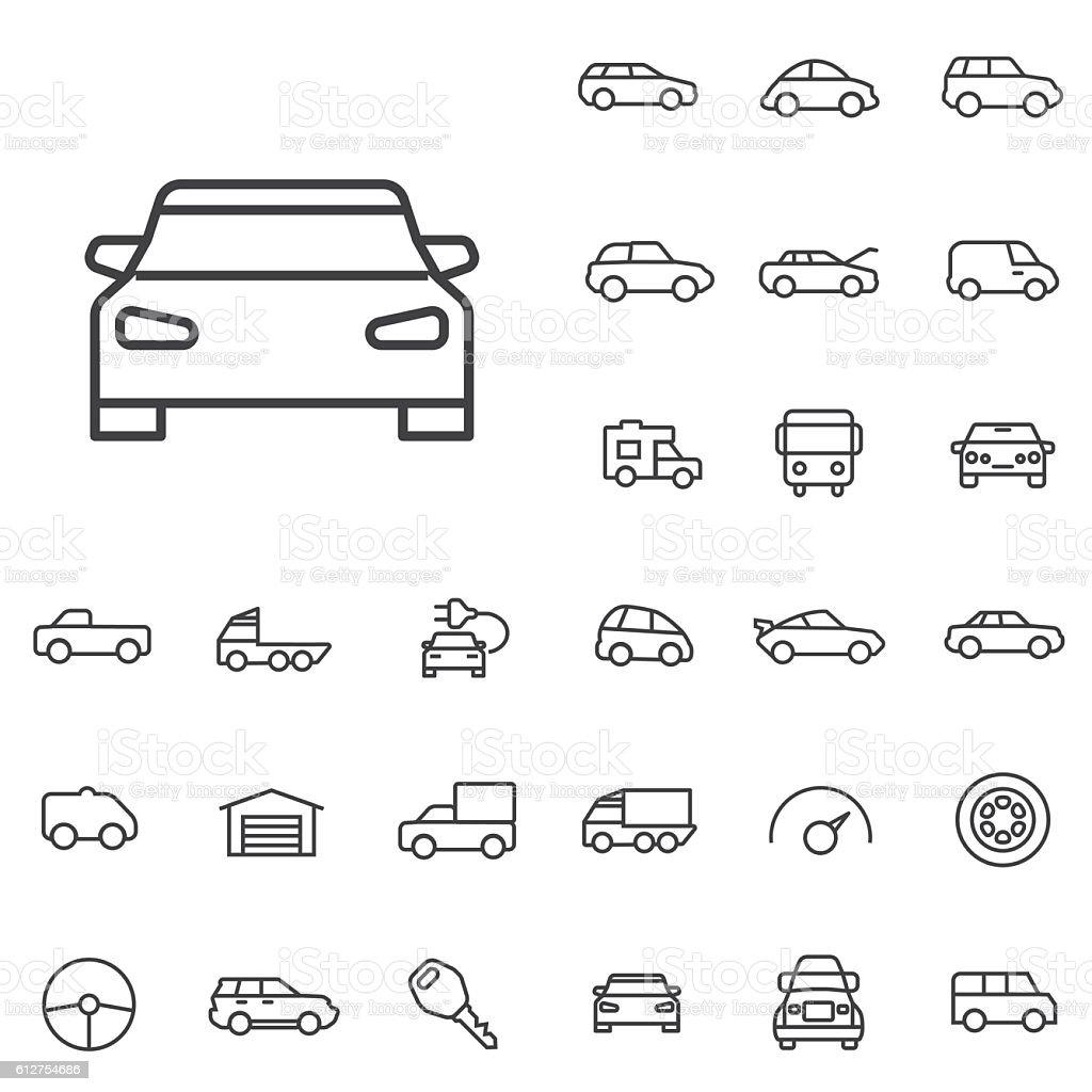 car outline, thin, flat, digital icon set vector art illustration