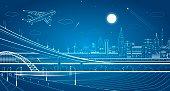 Car overpass, city infrastructure, urban plot, plane takes off, train move, transport illustration, vector design art