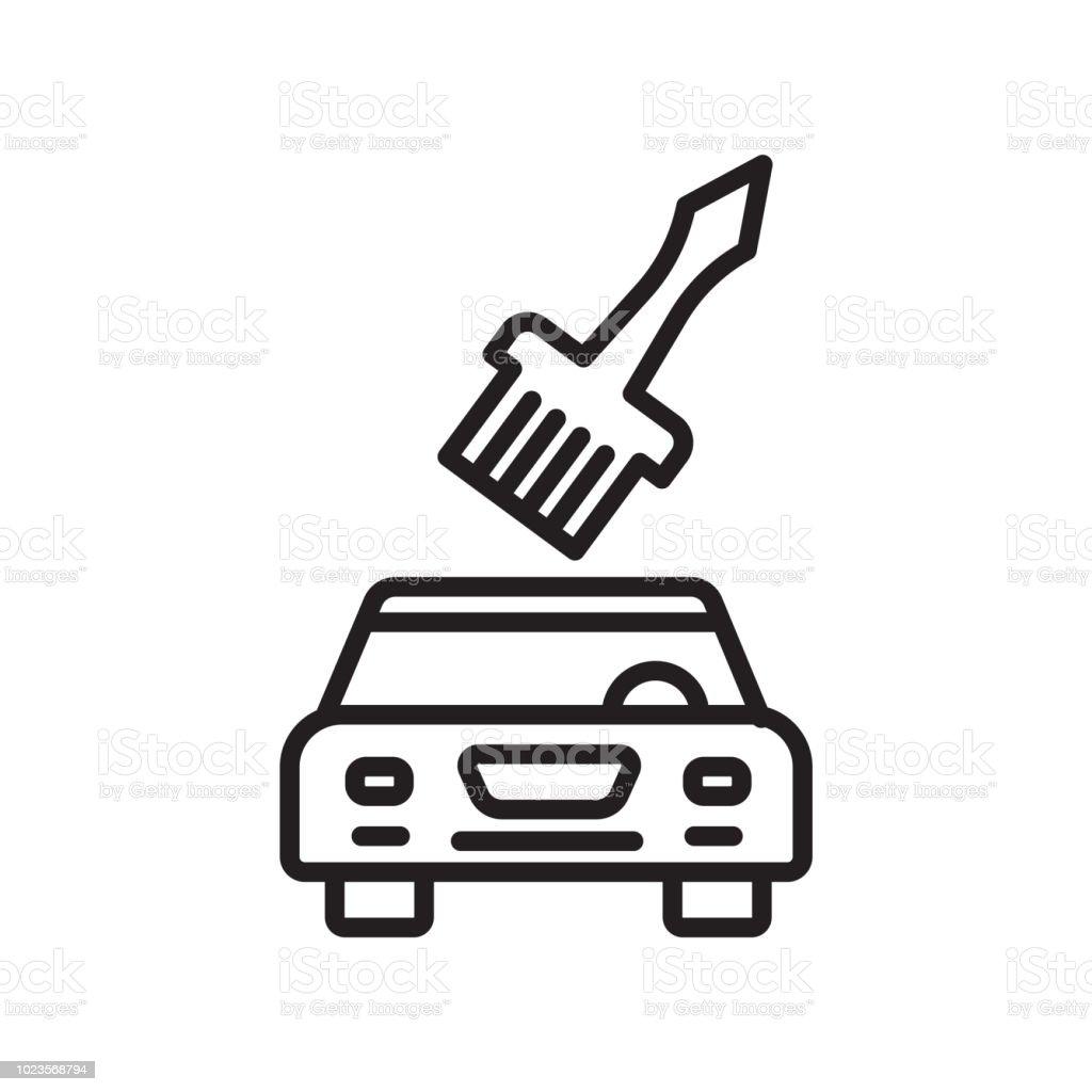 Araba Boyama Simge Vektor Isareti Ve Beyaz Arka Plan Uzerinde
