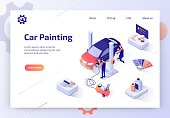 Car Painting, Collision Repair Service Isometric Vector Web Banner Workers in Uniforms and Respirator Putting New Color on Vehicle Body with Paint Gun Illustration. Car Tuning Atelier Landing Page