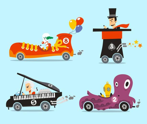 bildbanksillustrationer, clip art samt tecknat material och ikoner med car parade snicker top hat piano octopus - parad
