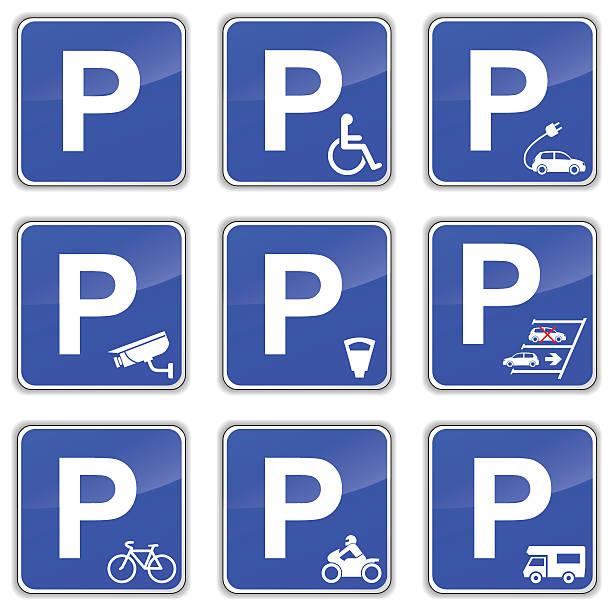 stockillustraties, clipart, cartoons en iconen met car park signs - parking