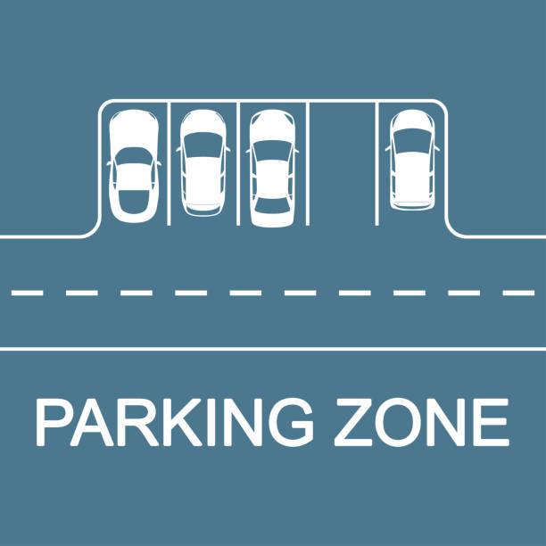 illustrations, cliparts, dessins animés et icônes de concept de stationnement de voiture. route avec places de stationnement et voitures, vue du haut. illustration de vecteur. - gare