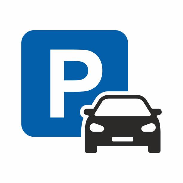 illustrations, cliparts, dessins animés et icônes de icône de stationnement de voiture - gare