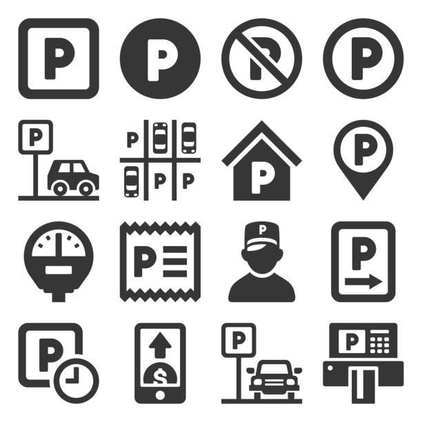 illustrations, cliparts, dessins animés et icônes de icônes de stationnement de voiture fixées sur le fond blanc. vecteur - gare