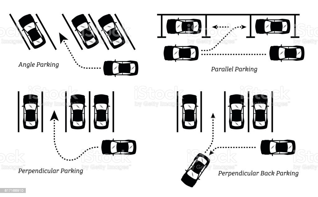 Car Parking Methods And Ways Stock Vector Art More Images Of Angle