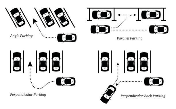 illustrations, cliparts, dessins animés et icônes de voiture parking méthodes et moyens. - gare