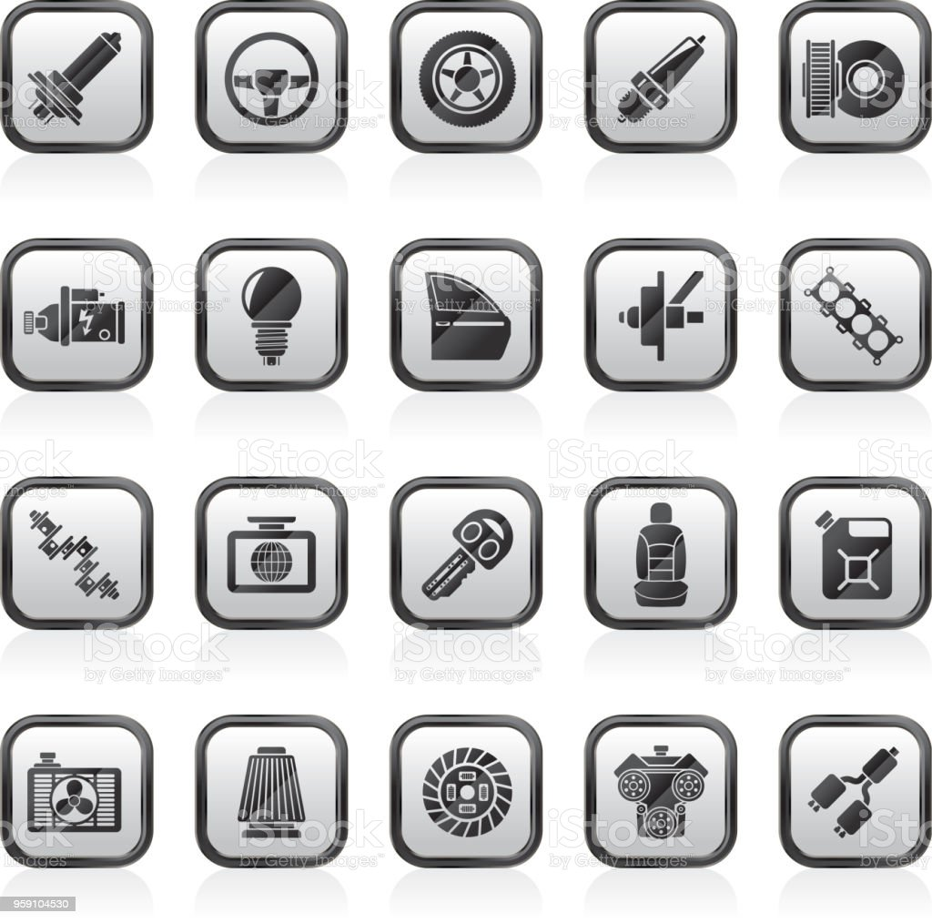 Car part and services icons  1 vector art illustration