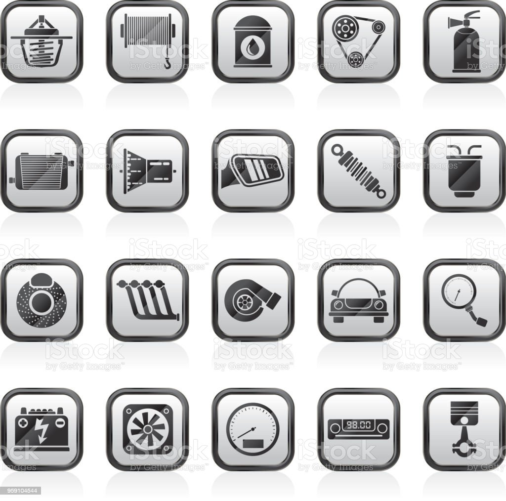 Car part and services icons 2 vector art illustration