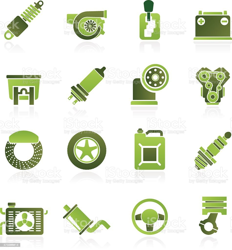 Car part and services icons vector art illustration