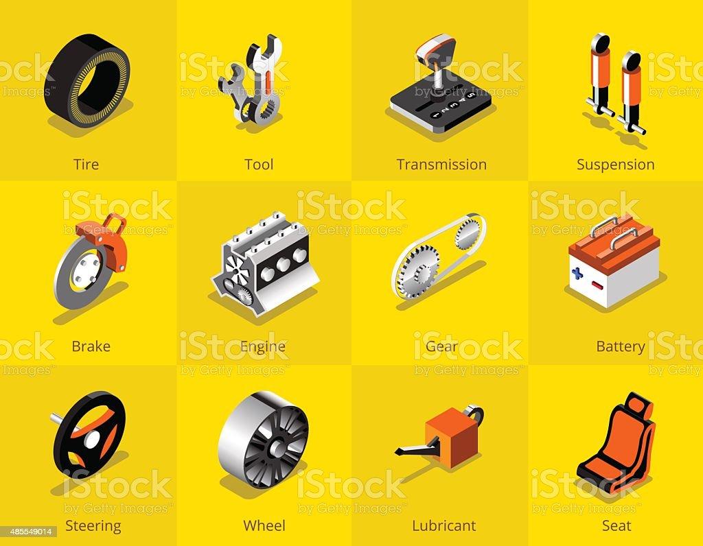 Car part icon and logo, Garage car services. vector illustration vector art illustration
