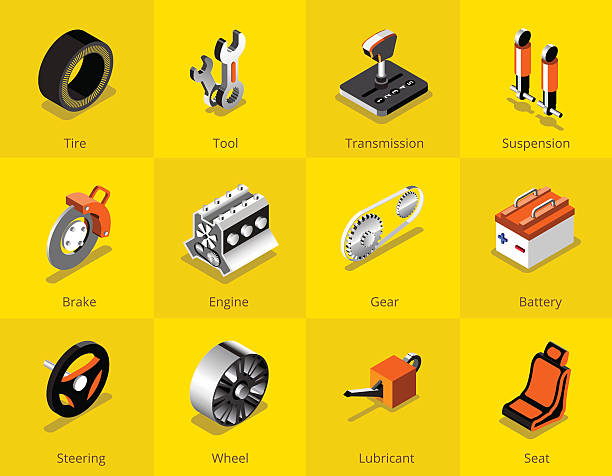 Car part icon and logo, Garage car services. vector illustration Isometric car services icon and logo, tyre, break, control, tool, engine, wheel and etc. vector illustration vehicle part stock illustrations