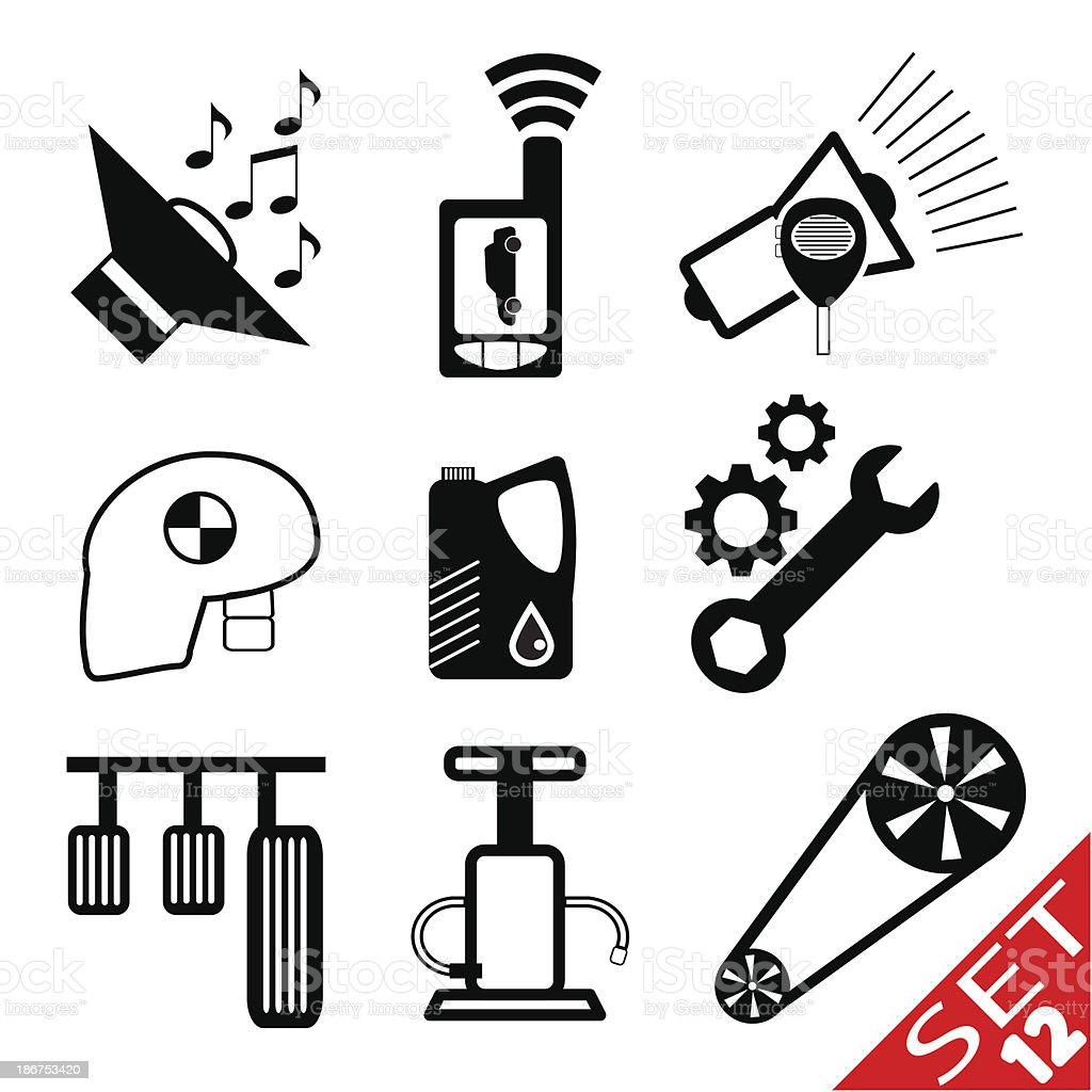 Car part icon set 12 royalty-free stock vector art