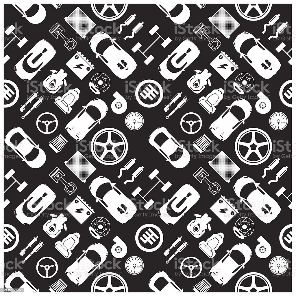 car part icons and Background vector art illustration