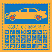 car part icons on blue square