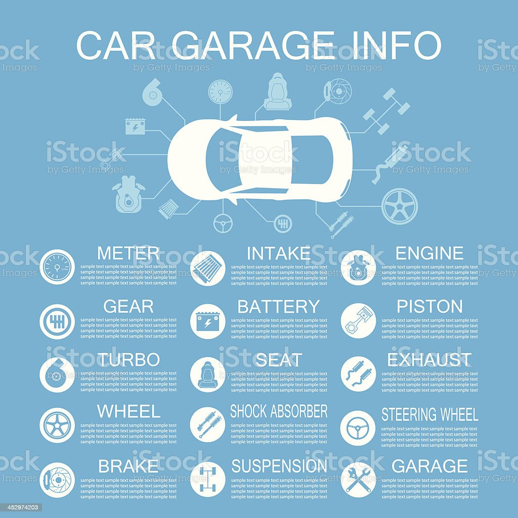 car part information vector art illustration