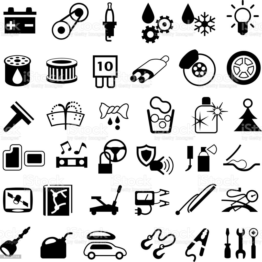 Car Parts and Repair Icons vector art illustration