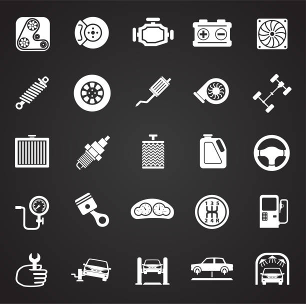 Car parts and repair set on black background for graphic and web design, Modern simple vector sign. Internet concept. Trendy symbol for website design web button or mobile app. vector art illustration