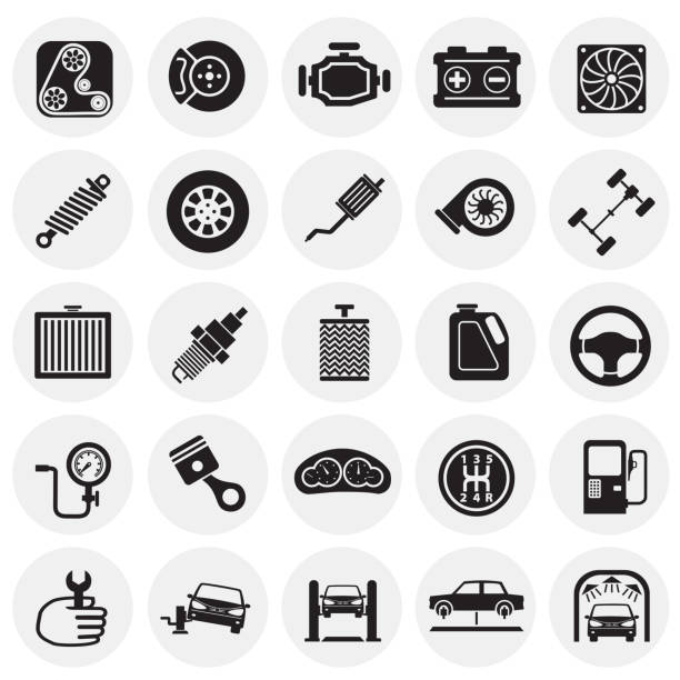 Car parts and repair set on circles background for graphic and web design, Modern simple vector sign. Internet concept. Trendy symbol for website design web button or mobile app. vector art illustration