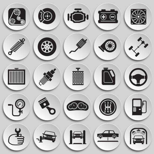 Car parts and repair set on plates background for graphic and web design, Modern simple vector sign. Internet concept. Trendy symbol for website design web button or mobile app. vector art illustration
