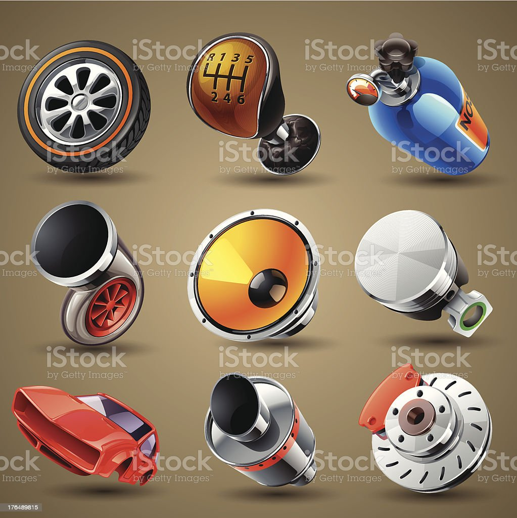 Car parts and services icons filling a tan space royalty-free stock vector art
