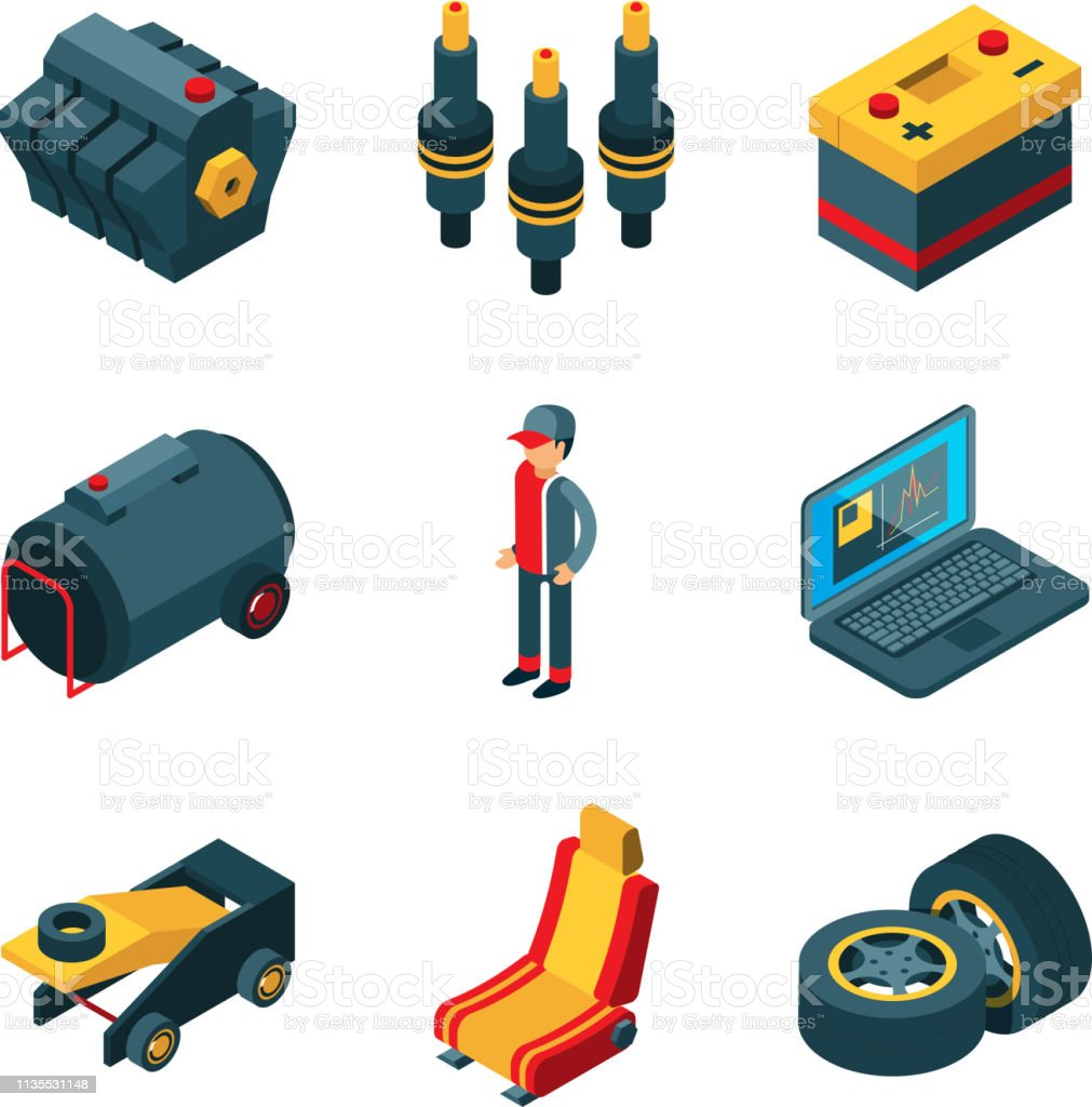 Car Parts Auto Shop Automobile Items Transmission Engine Gears Wheel