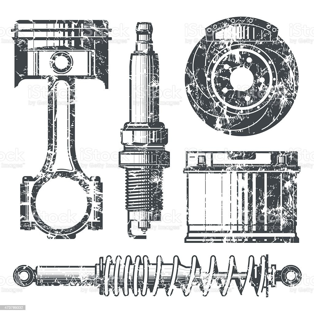 Car parts badges vector art illustration