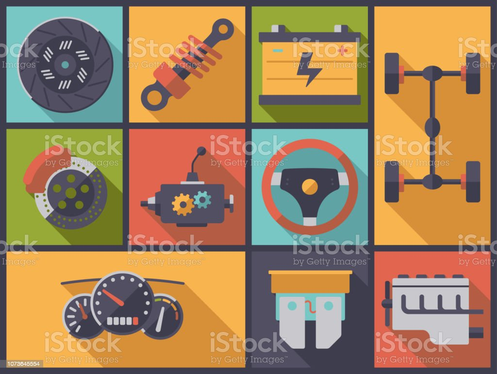 Car parts flat design vector illustration. vector art illustration