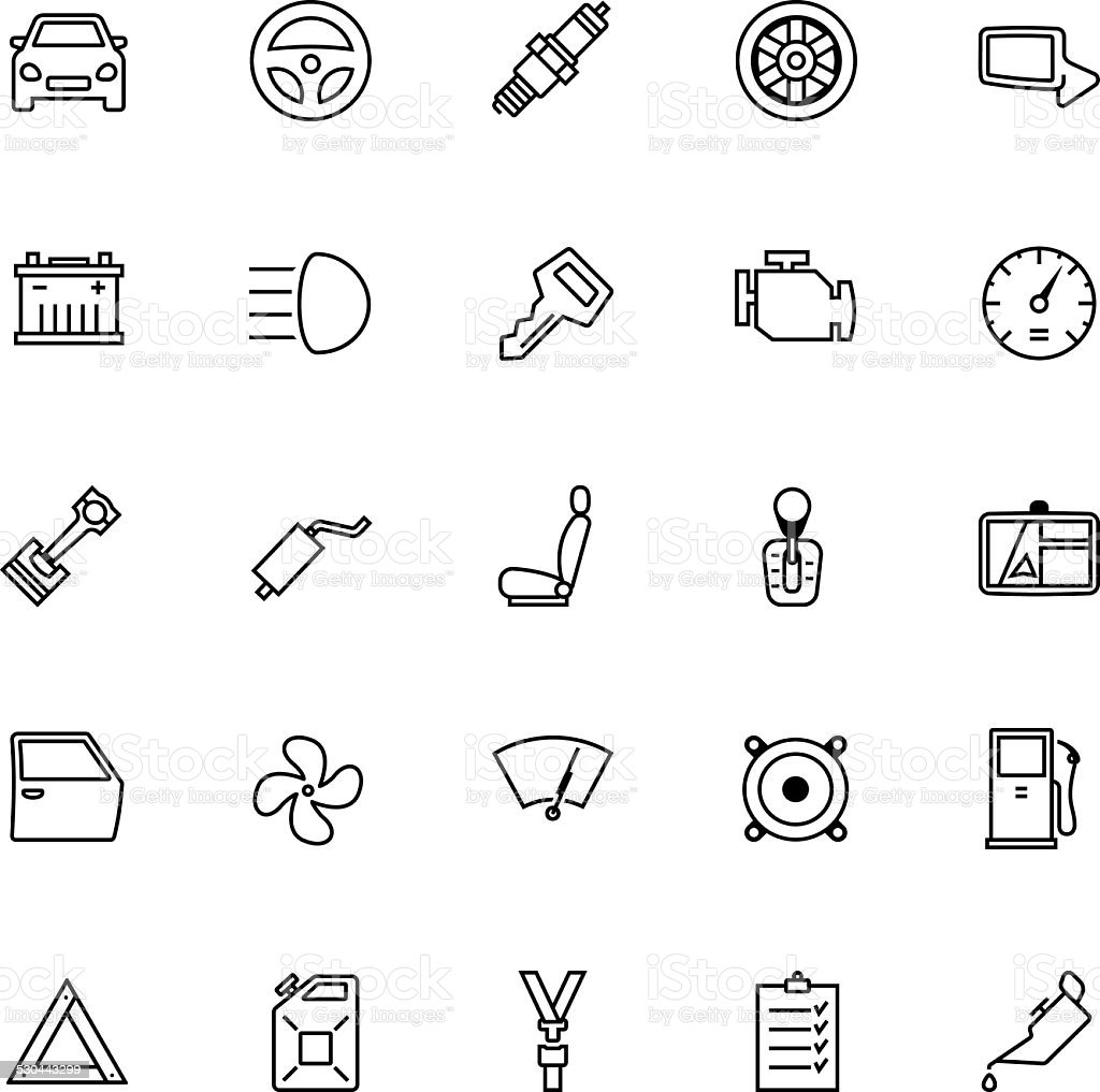 Car Parts Icon Set vector art illustration