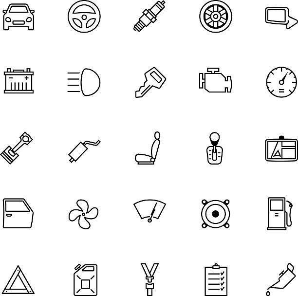 ilustrações de stock, clip art, desenhos animados e ícones de conjunto de ícones de peças de carro - exhaust white background
