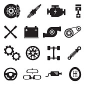 Car Parts Icons. Black Flat Design. Vector Illustration.