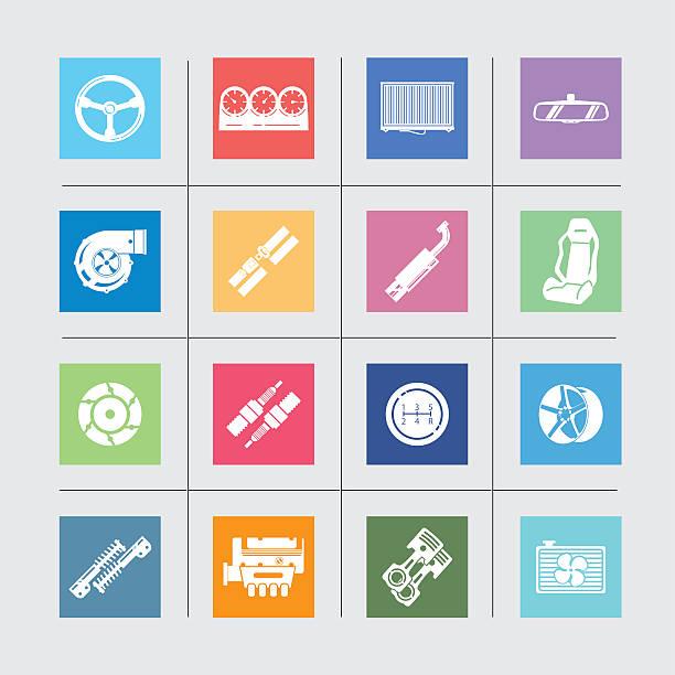 ilustrações de stock, clip art, desenhos animados e ícones de ícones de peças de carro color harmony/eps10 - exhaust white background