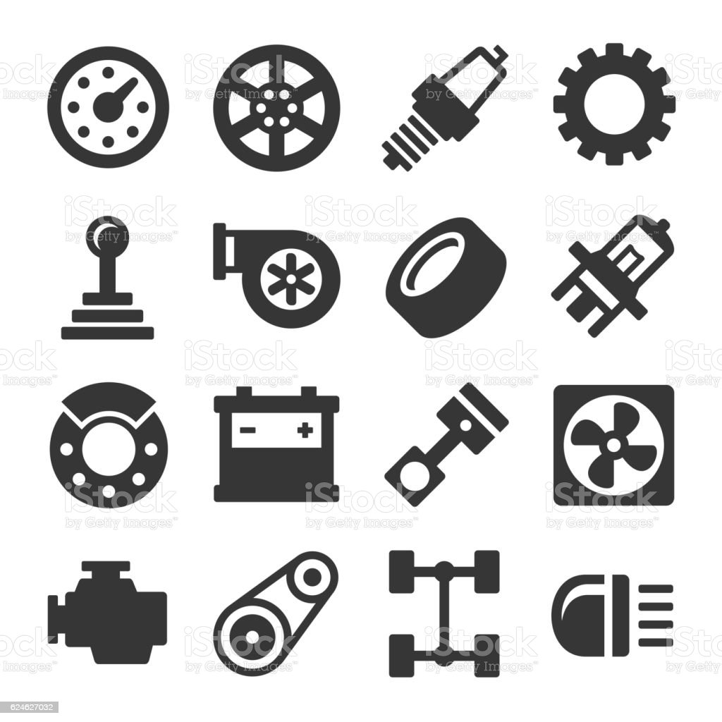 Car Parts Icons Set on White Background. Vector vector art illustration