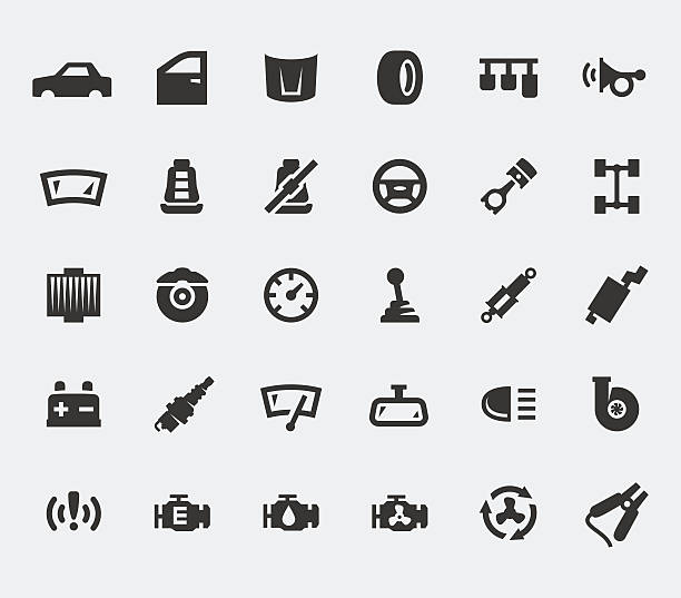 Car parts large icons set Car parts large icons set tire vehicle part stock illustrations