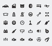 Car parts large icons set