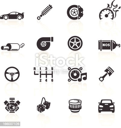 Auto Parts & Performance Icons. Layered & grouped for ease of use. Download includes EPS 8, EPS 10 and high resolution JPEG & PNG files.