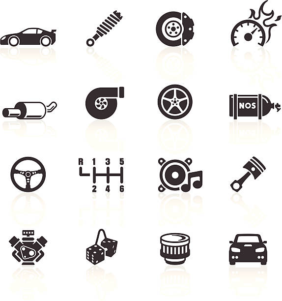 Car Parts & Performance Icons Auto Parts & Performance Icons. Layered & grouped for ease of use. Download includes EPS 8, EPS 10 and high resolution JPEG & PNG files. gearshift stock illustrations