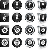 Car Parts vector button set