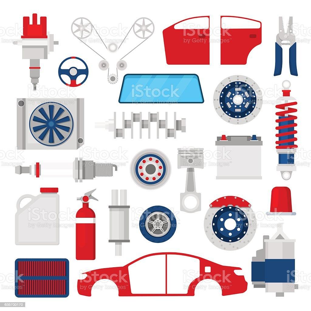 Car Parts Set Auto Service Repair Icons royalty-free car parts set auto service repair icons stock vector art & more images of brake