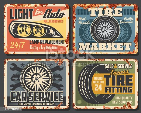 Car auto service station, mechanic garage rusty grunge plate posters. Vector automotive transport repair station, tire fitting and rim replacement, headlight lamp diagnostics and electrician service