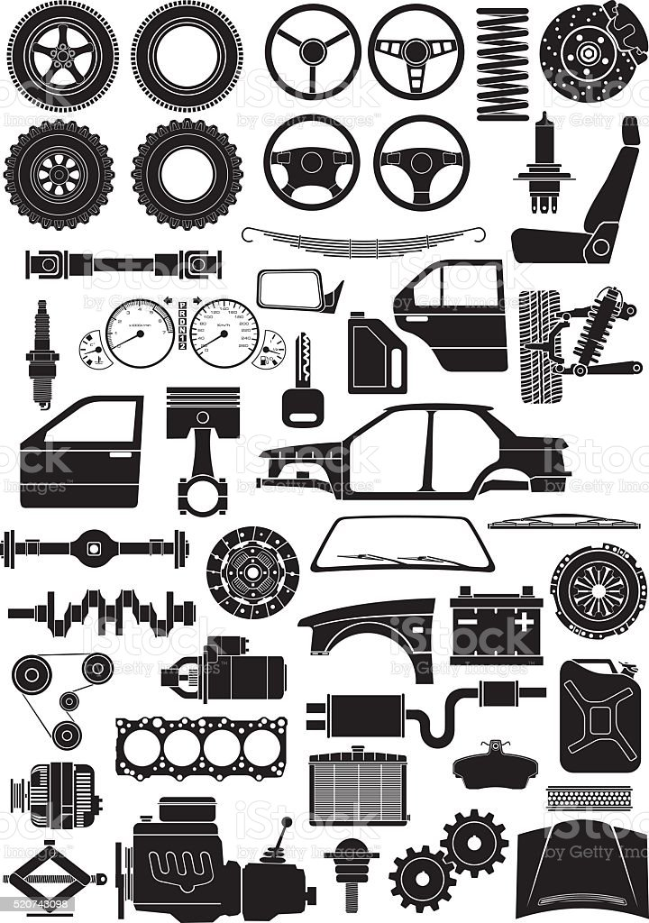 car parts sihouettes vector art illustration