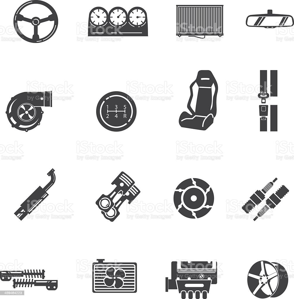 Car parts Silhouette icons vector art illustration