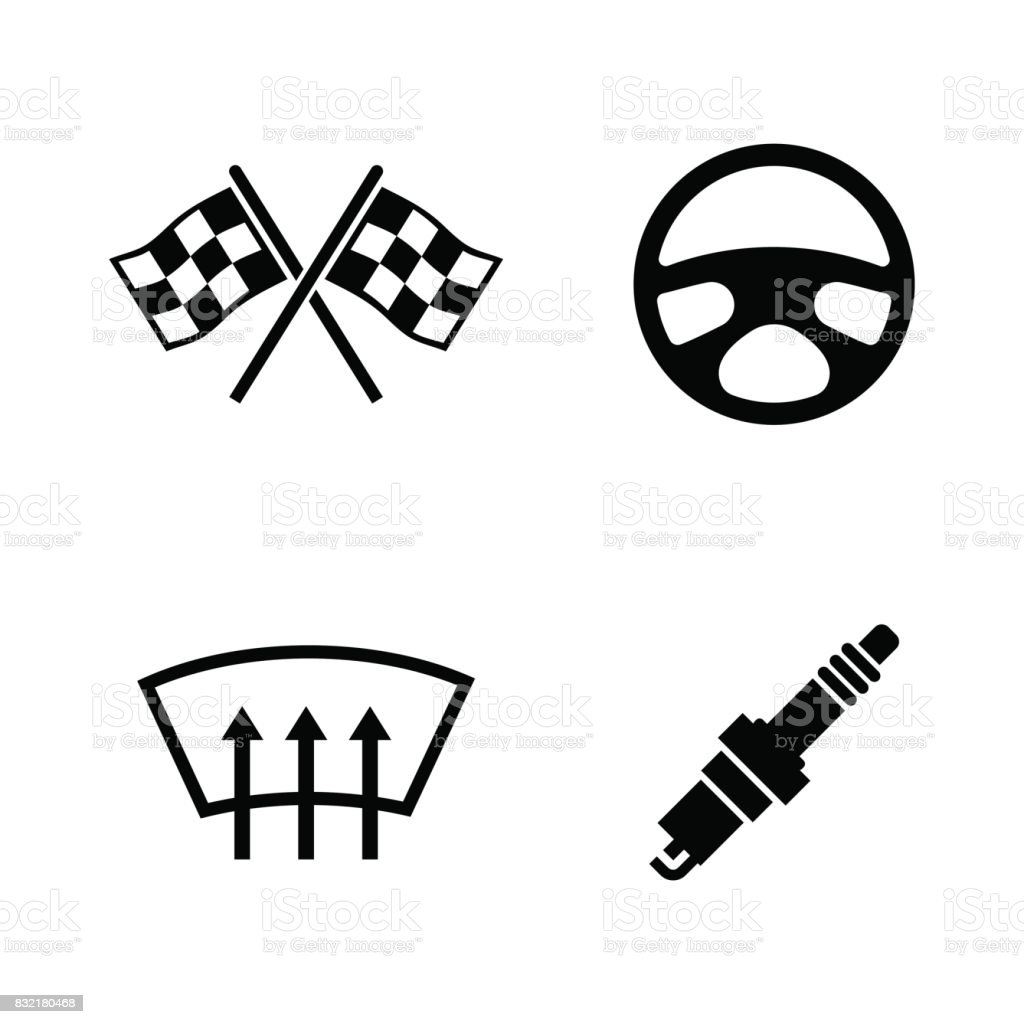 Car Parts Simple Related Vector Icons Stock Vector Art & More Images ...