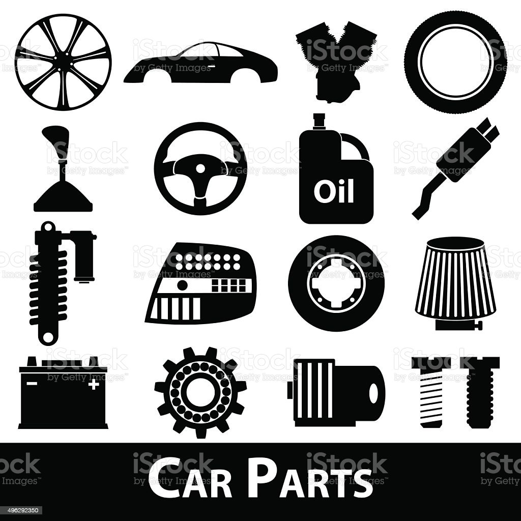Car Parts Store Simple Black Icons Set Eps10 Stock Vector Art & More ...