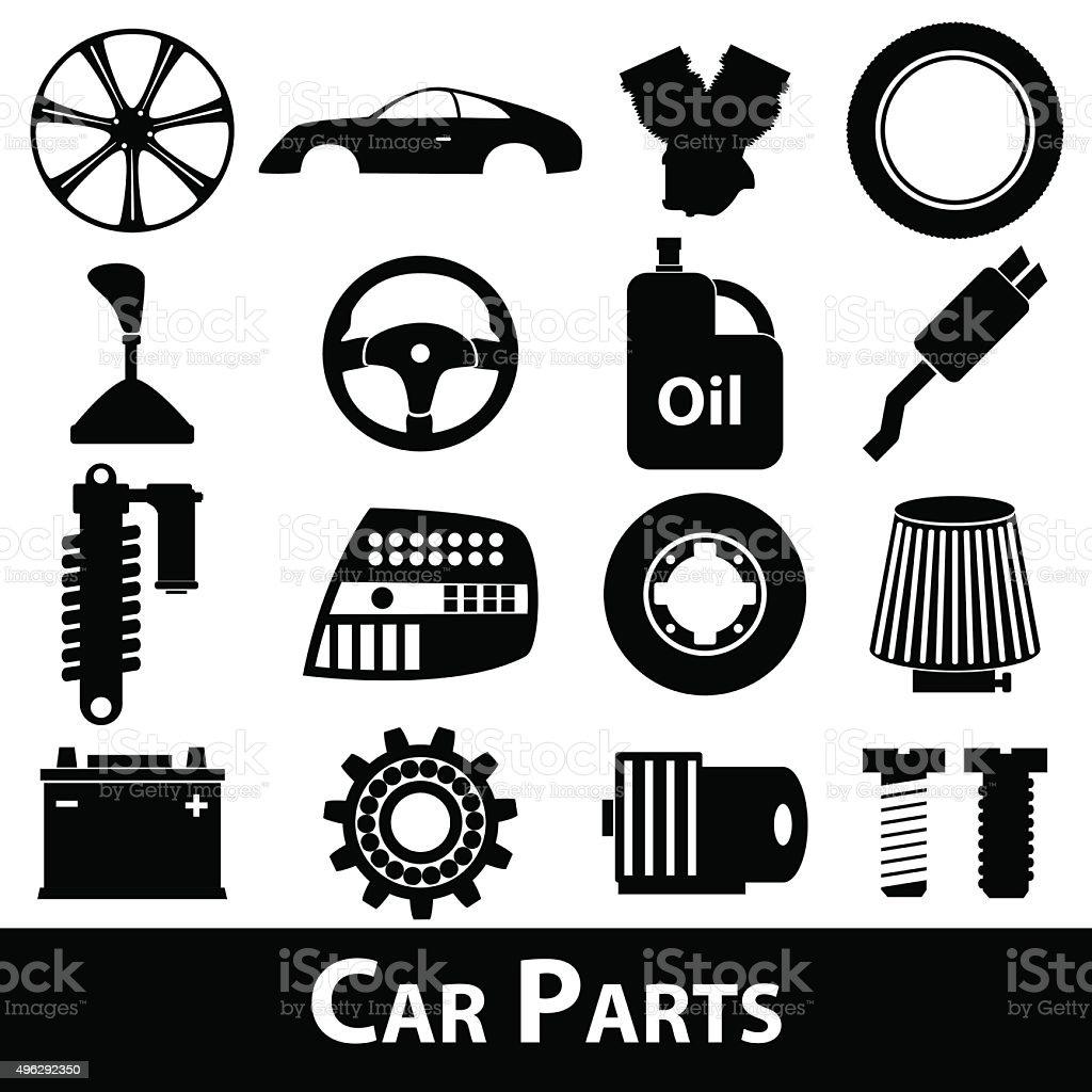 Auto Parts Store Einfache Schwarz Icons Set Eps10 Stock Vektor Art