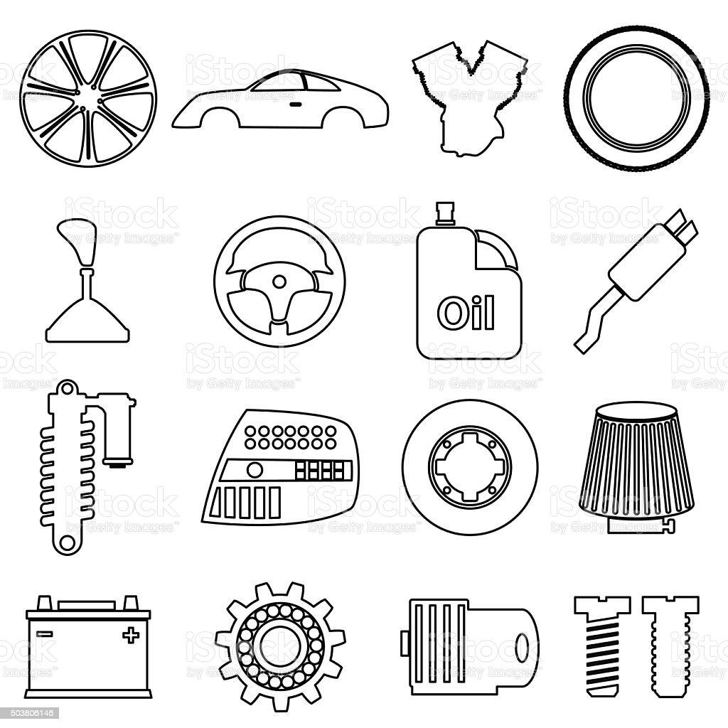 Auto Parts Store Einfache Schwarze Kontur Icons Set Eps10 Stock